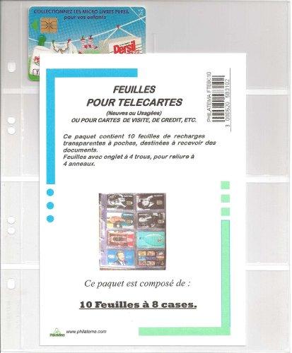 FEUILLES DE RECHARGE 8 CASES POUR CLASSEUR TÉLÉCARTES + 1 TÉLÉCARTE OFFERTE