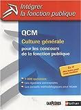echange, troc Sylvie Grasser - QCM de culture générale : Pour les concours de la fonction publique