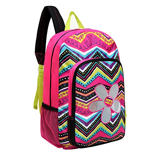 MGgear 17 inch Flower & ZigZag Pattern Kids School Book Bag / Backpack for Girls