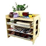 木製 多機能 卓上 収納棚 4段 組み立て 簡単 A4サイズ対応 デスクラック 横置き 縦置き 本棚 小物入れ 机上整理 上置き棚 書類整理 リビング キッチン 雑貨 収納に最適 ベージュ