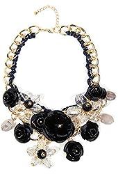 Zhenhui Women Gold Chain Crystal Flowers Charm Pendant Big Chunky Bib Statement Necklace for Clothing