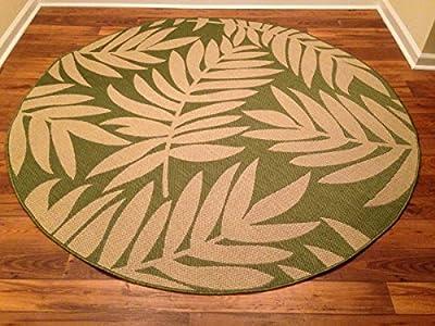 IMS 2607R7199bg/LGR Floral Pattern Round Heavyweight Indoor Outdoor Rug, Beige Light Green - 6 ft. x 6 in.