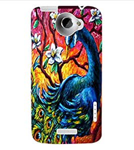 ColourCraft Beautiful Peacock Drawing Design Back Case Cover for HTC ONE X
