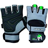 Meister Wrist Wrap Weight Lifting Gloves w/ Gel Padding - Gray/Neon Green - Medium