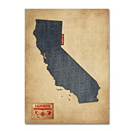 Trademark Fine Art California Map Denim Jeans Style Artwork by Michael Tompsett, 24 by 32-Inch