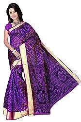 Monika Fashion Women's Cotton and Silk Saree - mf07_Purple