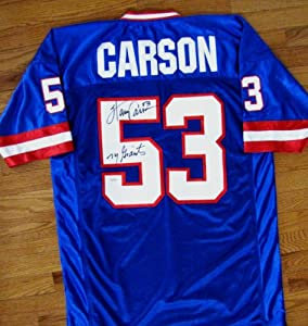 Harry Carson Autographed Custom Blue Jersey - New York Giants Inscription