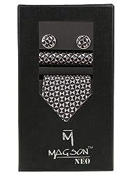 Magson Neo Men's Micro Fibre Jacquard Narrow Tie Combo, Urbano - Grey