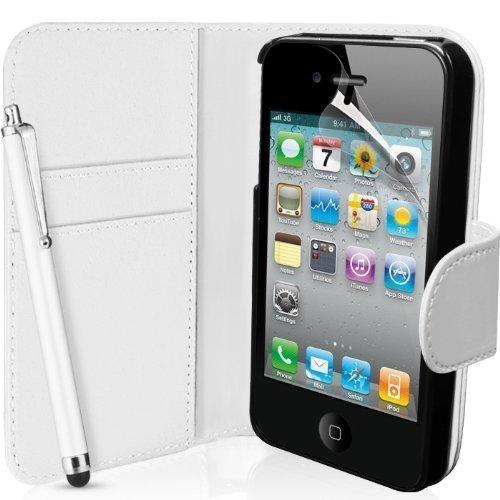 Verbindung Zone® iPod Touch 4 4. Generation KUNSTSTOFF Premium Flip Brieftasche Schutzhülle Beutel + Displayschutzfolie Mit Polier- Stoff Und Hoch Nadel - Weiß Brieftasche Flip