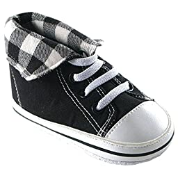 Luvable Friends Fold-Down Hi-Top Sneakers (Infant), Black, 12-18 Months M US Infant