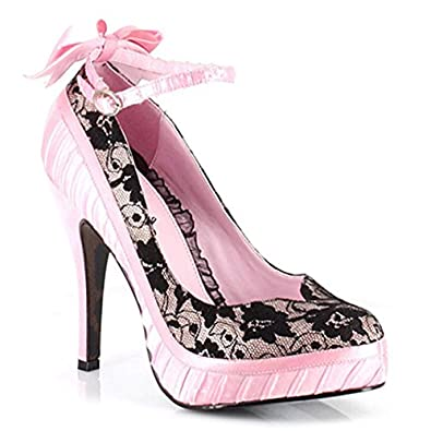 Amazon.com: 4 Inch Sexy High Heel Shoes Lace Satin Platform Pumps