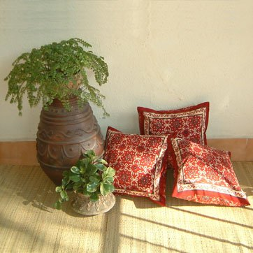 Ruby Kilim ~ Rustic Red Black Throw Pillow Cushion Cover 17x17