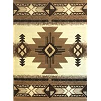 South West Native American Area Rug 5 Ft X 7 Ft Ivory Design # C318