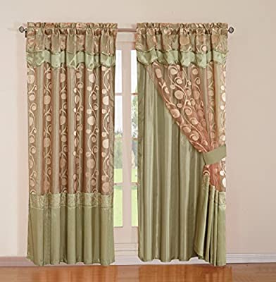 2 Pieces Embroidery Rod Pocket Window Curtains/ drape/ panels/ treatment with attached Valances, Backing and Tied Back from golden linens