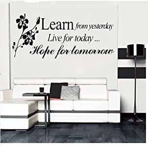 JINTO® Learn From Yesterday Family Love Art Wall Quotes / Wall Stickers/ Wall Decals