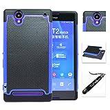 [ Sony Xperia T2 Ultra / D5303 ] ToPerk (TM) Cyber Grid Armor Case & Stylus Pen As Bundle Sale - Blue