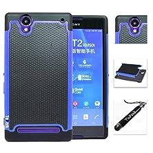 buy [ Sony Xperia T2 Ultra / D5303 ] Toperk (Tm) Cyber Grid Armor Case & Stylus Pen As Bundle Sale - Blue