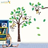 Toprate (TM) Large Size Funny Monkey Forest Green Gig Tree Vinly PVC Home Decal Decor Wall Sticker Removable Wall Decal For Nursery Boys and Girls Children's Bedroom
