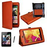 MOFRED® Orange Luxury Multi Function Standby Case with Built-in Magnet for Sleep / Wake feature for the Google Nexus 7 Tablet (8GB,16GB,32GB or 32GB 3G HSPA+)- Second Updated Version w/Sleep Sensor + Screen Protector + Stylus Pen (Available in Mutiple Co
