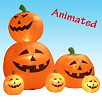 6 Foot Animated Inflatable Halloween Pumpkins + Motion Yard Decoration