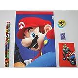 Nintendo Super Mario Bros. 6pc Notepad, Pencil, Eraser, Sharpener, Sketchbook Set Party Favors / Officially Licensed