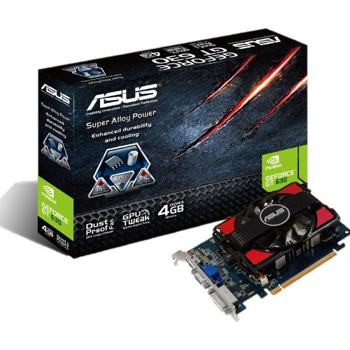 Asus NVIDIA GeForce GT630 Grafikkarte (PCI-e, 4GB GDDR3 Speicher, VGA, DVI, HDMI, 1 GPU)