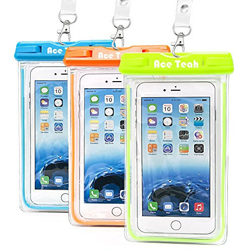 Waterproof Case, 3 Pack Ace Teah Universal Clear Transparent Waterproof Cellphone Case Cover, Dry Bag for Outdoor Activitie Swimming, Surfing, Fishing, Skiing, Boating, Beach - Blue, Green, Orange (Samsung Ace Plus Cover compare prices)