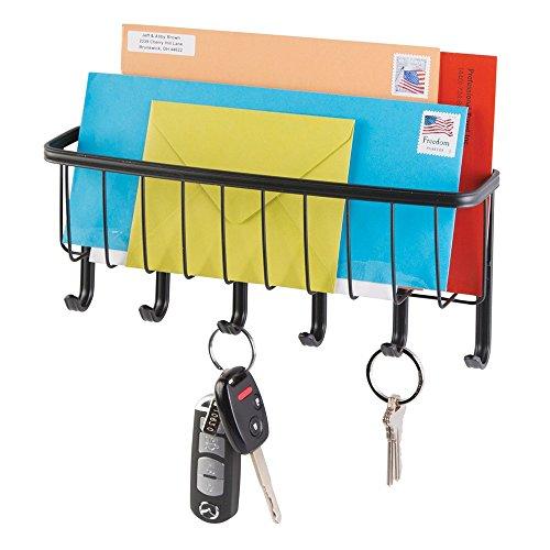 mDesign-York-Lyra-Post-Organizer-und-Schlsselleiste-fr-Zuhause-Bro-Kche-Eingangsbereich-Wandmontiert-Mattschwarz