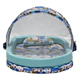 Amardeep Mattress With Mosquito Net With Bumper Guard, Blue animal print, XXL 0-2 yrs
