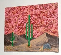 MODERN ABSTRACT ART DESERT CACTI PAINTING TITLED: DESERT TRIO