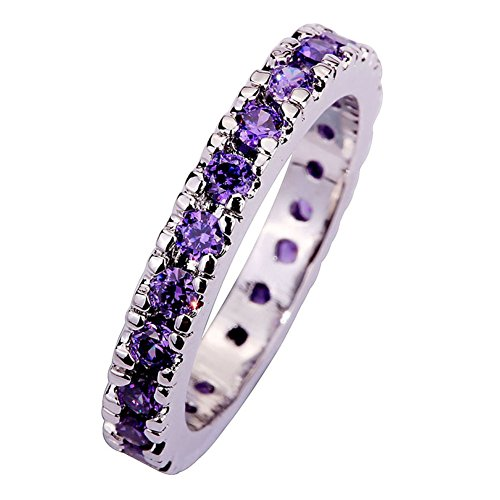 Psiroy 925 Sterling Silver Dainty Amethyst Stackable Filled Ring Band