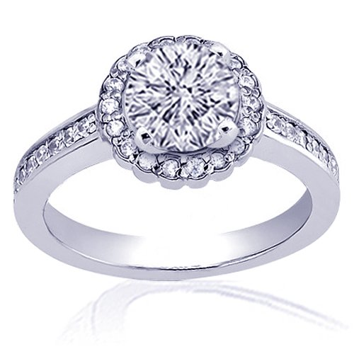 1.3 Ct Round Diamond Engagement Ring Pave 14K