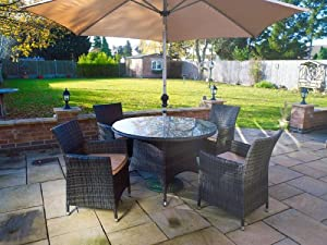 Melbourne Outdoor Patio Furniture: Round 4 Seater Dining Set with Parasol from Whitaker Cane Furniture