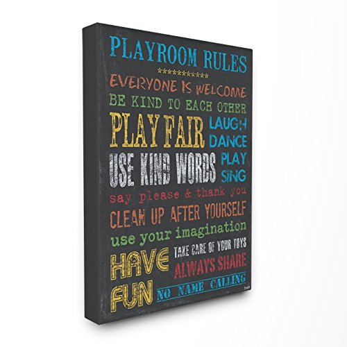 The Kids Room by Stupell Rainbow Chalkboard Playroom Rules Canvas Wall Art