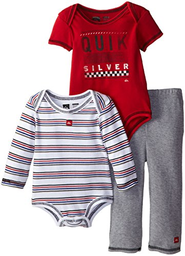 Quiksilver Baby-Boys Infant Stripe Long Suit Red Short Sleeve Body With Pull On Pants, Multi, 18 Months front-461112