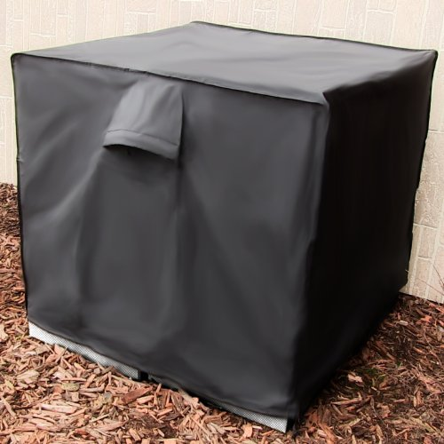 Sunnydaze Heavy Duty Square Air Conditioner Cover Black