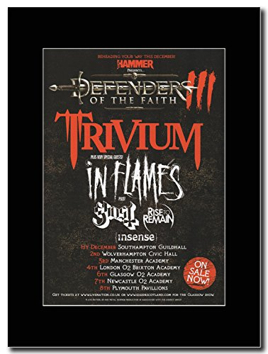 Trivium Defender del Faith-UK-Tour date 2011 Magazine Promo su un supporto, colore: nero