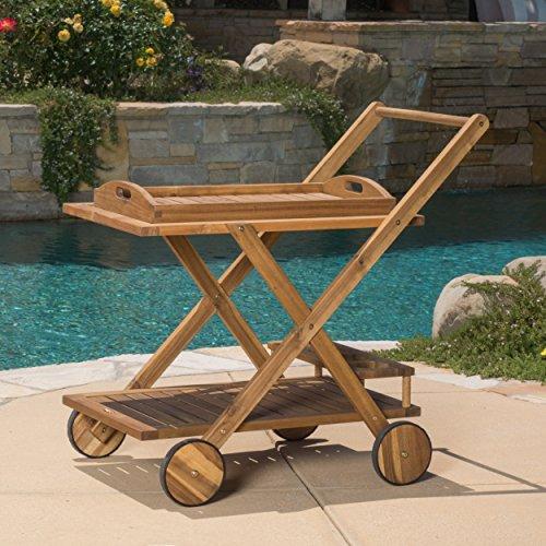 Outdoor bar cart made from acacia wood in natural finish