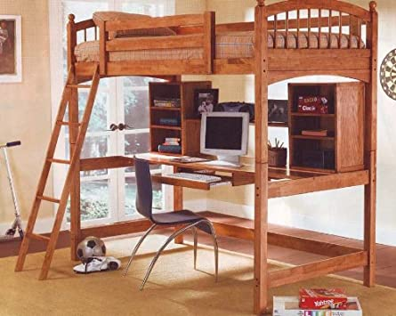 New Wood Workstation Bunkbed Bunk Bed Office Computer Desk