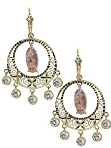 14k Tricolor Gold, Fancy Filigree Virgin Guadalupe Design Chandelier Drop Earring Lab Created Gems