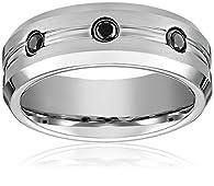 Men's Cobalt 7.5mm Comfort Fit Diamond Wedding Ring Band Finish with Polished Beveled Edges, Size 12