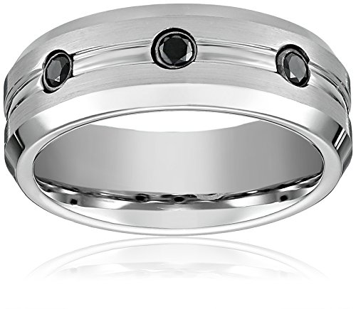 Men's Cobalt 7.5mm Comfort Fit Diamond Wedding Ring Bandatin Finish with Polished Beveled Edges, Size 13