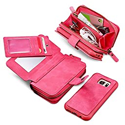 Galaxy Note 7 Detachable Case, JGOO Huge Capacity Retro Vintage PU Leather 10 Card Slots Wallet Case,[Sturdy Snapper w/Zip Bag] Magnetic Separable Back Cover for Samsung Galaxy Note 7,Red Rose