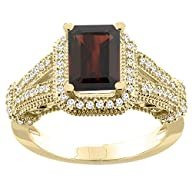 14K Yellow Gold Natural Garnet Ring O…