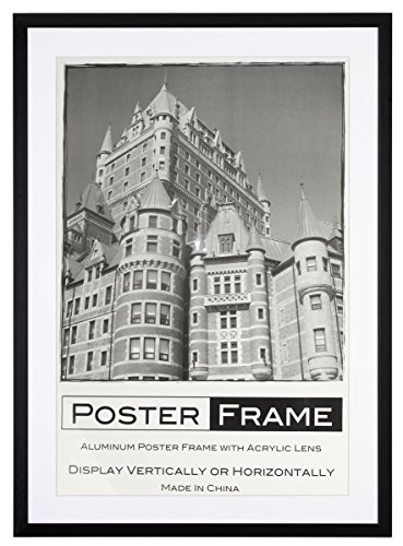 Displays2go 27 Inch x 40 Inch Movie Poster Frame, Wall Mount, White ...