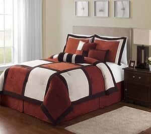 Victoria Classics Pinto 7-Piece Comforter Set, Queen, Spice