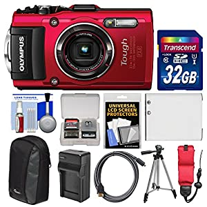 Olympus Tough TG-4 Wi-Fi GPS Shock & Waterproof Digital Camera (Red) with 32GB Card + Case + Battery + Charger + Tripod + Float Strap + Kit
