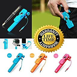 TecExclusive® Selfie Stick, Super Mini Pen-Size Aluminium Monopod (Battery Free) for GoPro, iPhone 6, iPhone 6 plus, iPhone 5 5s 5c, Android phones, Samsung Galaxy and Note