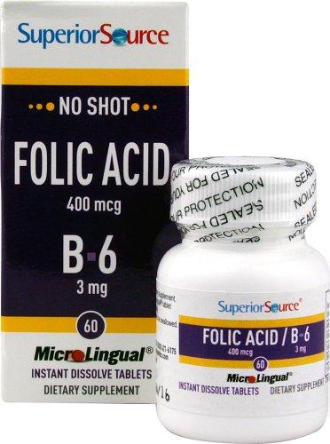 Superior Source Folic Acid/B6 Nutritional Supplements, 400 Mcg/3 Mg, 60 Count,