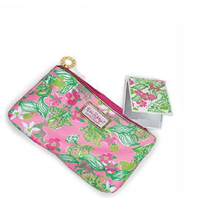 Lilly Pulitzer Cosmetic Bag Tiger Lilly Print + Travel Mirror